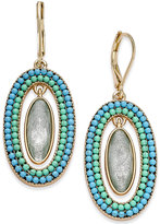 lonna & lilly Gold-Tone Blue Bead & Oval Stone Drop Earrings