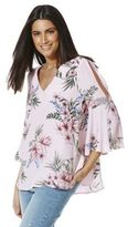 F&F Floral Print Flute Sleeve Top, Women's