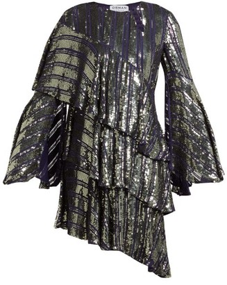 Osman Tina Sequin Asymmetric-tiered Dress - Womens - Dark Grey