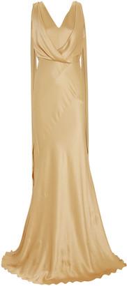 Alberta Ferretti Draped Bias Cut Satin Gown