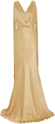 Alberta Ferretti Draped Bias Cut Satin Gown