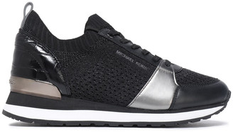MICHAEL Michael Kors Billie Leather-trimmed Stretch-knit Sneakers