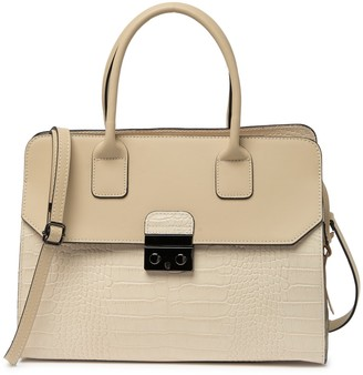 Persaman New York Marion Croc Embossed Leather Satchel