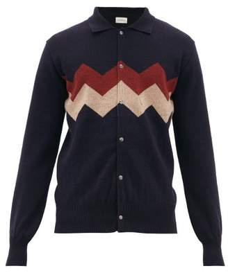 Oliver Spencer Roxwell Chevron-knit Wool Jacket - Mens - Navy Multi