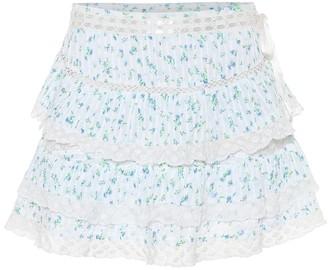LoveShackFancy Bara floral cotton miniskirt