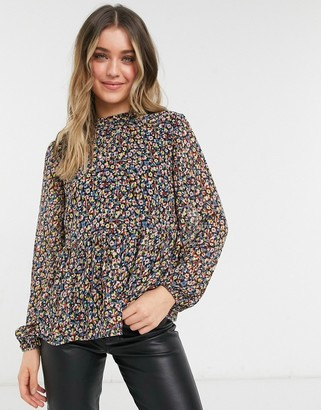 Pieces blouse with peplum in black ditsy floral