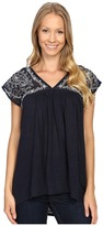 Lucky Brand Sheer Yoke Embroidered Top