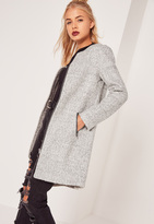 Missguided Longline Textured Wool Bomber Jacket Grey