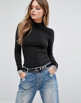 G Star G-Star Be RAW Top with Leather Look Panel and Funnel Neck