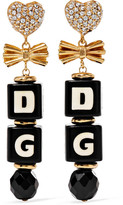 Dolce & Gabbana Gold-plated, Swarovski Crystal And Resin Clip Earrings