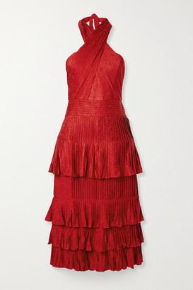Johanna Ortiz Eccentric Vibes Tiered Ruffled Floral Satin-jacquard Midi Dress - Crimson