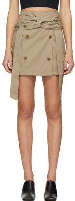 Rokh Tan Twist Wrap Miniskirt