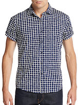 Saks Fifth Avenue RED Trim-Fit Printed Cotton Short Sleeve Shirt