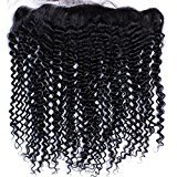"Nicewig Brazilian Kinky Curly Lace Frontal Closure 13x4"" Virgin Remy Human Hair Extensions Free Part Front Closures With Baby Hair Bleached Knots 20""inches Natural Color"