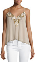Romeo & Juliet Couture Embellished Racerback Tank, Beige