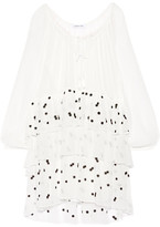 Elizabeth and James Irma Embroidered Crinkled Silk-chiffon Mini Dress - Ivory