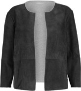 Majestic Suede-paneled cotton-jersey cardigan