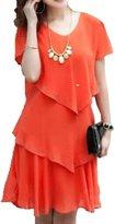 Donalworld Women Plus Size Short Sleeves Chiffon Mini Dress Knee Length