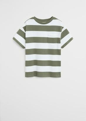 MANGO Chest-pocket striped T-shirt grey - 5 - Kids