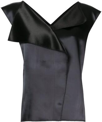 The Row Ori two-tone satin blouse