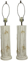 One Kings Lane Vintage Faux Bamboo Plaster Table Lamps - a Pair - Vintage Bella Home - cream