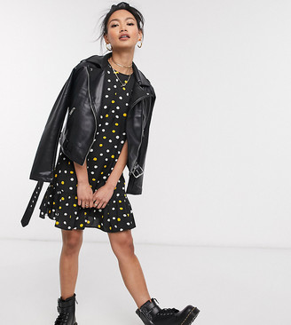 Wednesday's Girl mini smock dress with peplum hem in smudge spot print