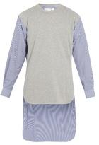 Comme Des Garcons Shirt Contrast-front Step-hem Cotton Top