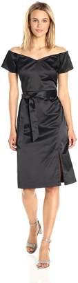 Paris Sunday Women's Off Shoulder Front Slit Sateen Dress