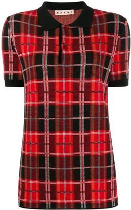 Marni Tartan Knit Polo Shirt