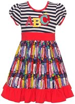 "Rare Editions Little Girls Red ""ABC"" Letter Applique Striped Dress"