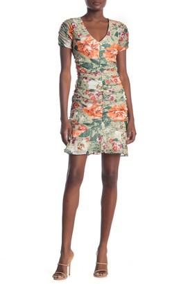 Kensie Floral Ruched Mesh Lace Mini Dress