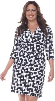 White Mark Plus Size Printed Faux-Wrap Dress
