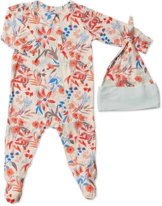 Baby Grey by Everly Grey Floral Print Jersey Footie & Hat Set