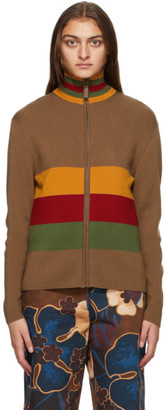 Wales Bonner Beige Lovers Rock Zip-Up Sweater