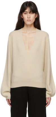 Frenckenberger Off-White Cashmere Mini Deep V-Neck Sweater