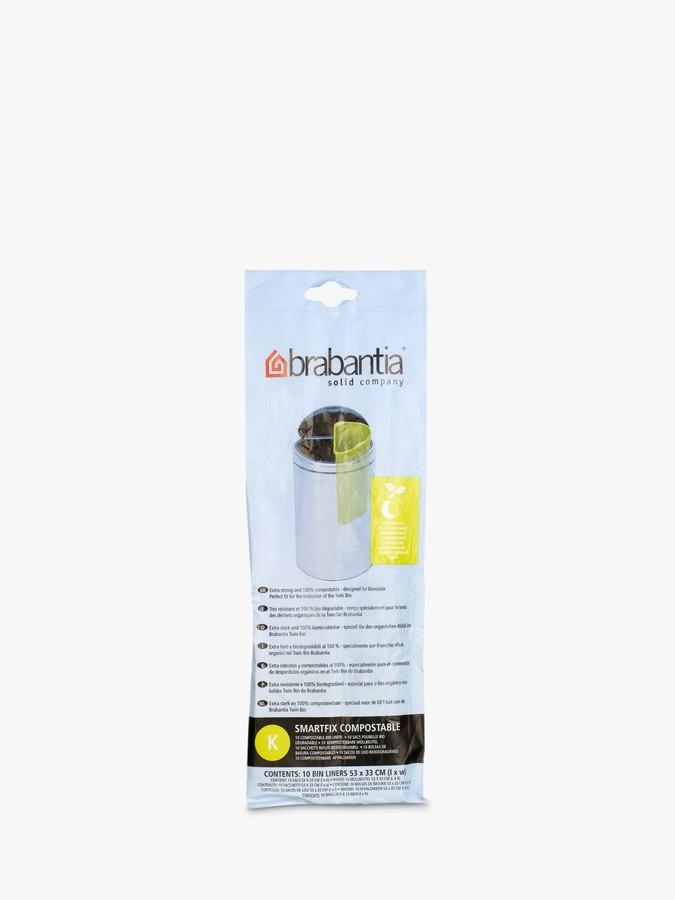 Brabantia Compostable Bin Liners, 10L - Size K, 10 Bags
