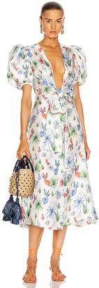 Silvia Tcherassi Lirio Dress in Multi Palm Leaf   FWRD