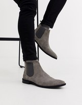 Asos Design DESIGN chelsea boots in grey suede with black sole