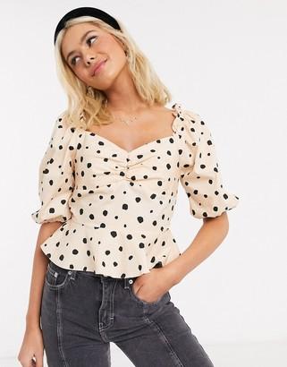 Miss Selfridge milkmaid blouse in taupe polka dot