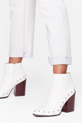 Nasty Gal Womens Stud Bye Faux Leather Ankle Boots - White