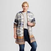 Cliche Women's Plus Size Aztec Print Hooded Open Cardigan Multicolored