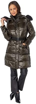 Sam Edelman Hooded 3/4 Puffer (Black) Women's Coat