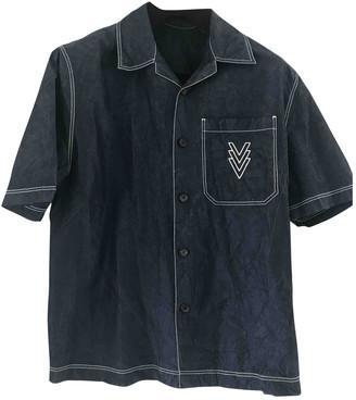 Louis Vuitton Navy Silk Shirts