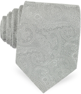 Forzieri Light Gray Ornamental Print Woven Silk Tie