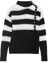 Philosophy di Lorenzo Serafini Faux Pearl-Embellished Striped Mohair-Blend Sweater