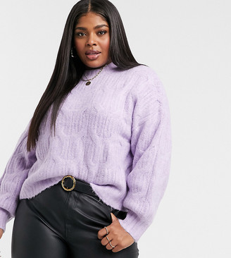 Urban Bliss Plus balloon sleeve cable knit jumper