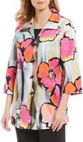 Caroline Rose Full Bloom Floral Print Button Front Jacket
