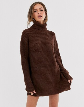 Moon River roll neck jumper dress-Brown