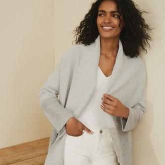 The White Company Longline Textured-Stitch Cardigan, Mid Grey Marl, Extra Small