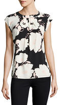 Karl Lagerfeld Paris Sleeveless Floral Top with Bow
